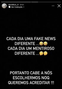 David Luiz sobre fake news